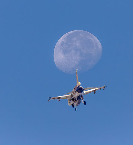 Fly me to the moon Air Force Aircraft Aviation Aviationphotography Blue Day Flight Flying Gear Israeli Air Force Jet Landing Low Angle View Mid-air Military Moon Moon Shots Moon Surface Motion Outdoors Sky Skyline