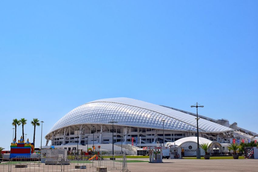 Road trip to the South of Russia 🚘 (roads/things/places/landscapes/plants/etc.) Fisht Olympic Stadium Built Structure Architecture Blue Clear Sky Copy Space Building Exterior Dome Day Outdoors Nature Sky Architecture Stadium Travel Photography Olympic Park  Olympic Park Sochi Southern Russia Russia