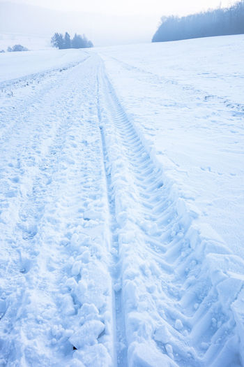 Backgrounds Blue Cold Temperature Day Landscape Nature No People Non-urban Scene Outdoors Polar Climate Scenics Silence Skidmarks Snow Traces Tranquil Scene White Color Winter