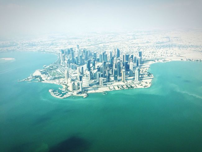 Doha from the air... Aerial View Cityscape Skyscraper Sky City Sea Financial District  West Bay Doha Doha Travel Destinations Viewfromtheplane