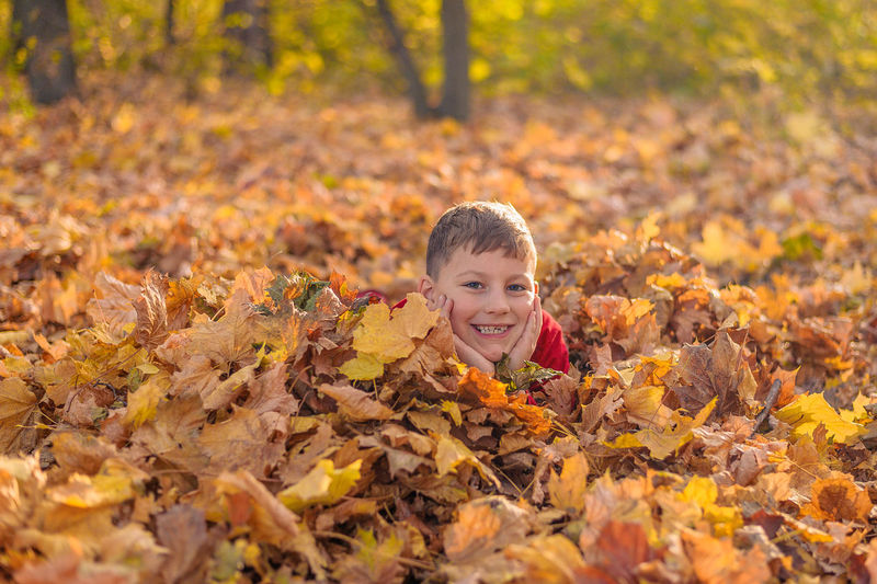 Portrait of smiling boy on leaves during autumn