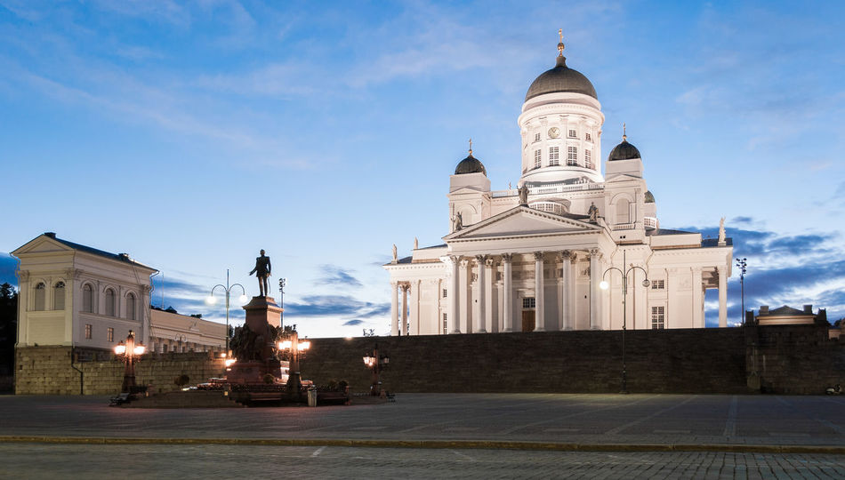 The lutheran cathedral of Helsinki during a summer night Architecture Blue Hour Cathedral Church City Cityscape Finland Helsinki Square Statue Touristic Travel Building Finnishgirl  Illuminated Landmark Long Exposure Lutheran Neoclassical Night Outdoors Place Of Worship Sky Summer