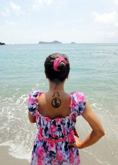 Human Back Tattoo Capricorn EyeEmNewHere A New Beginning Beach Summer Back Sea Women Young Women Beach Portrait Water Females Beautiful Woman Sundress