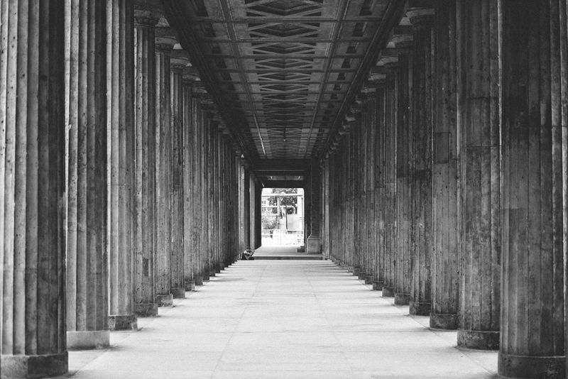 Depth Of Field Pillars Museum Island Black And White Welcome To Black