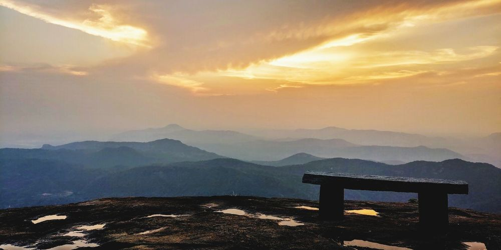 perfect place with soulmate Stone Bench Mountain Sunset Fog Winter Sky Mountain Range Landscape Cloud - Sky The Great Outdoors - 2019 EyeEm Awards The Minimalist - 2019 EyeEm Awards The Mobile Photographer - 2019 EyeEm Awards