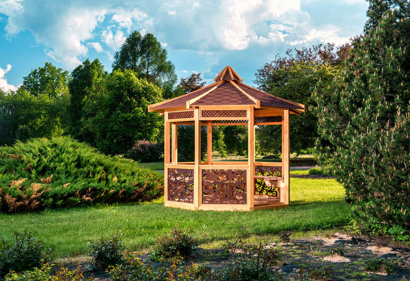 Outdoor wooden gazebo over summer landscape background Gazebo Nature Summertime Sunlight Arbor Arbour Carved Wood Clouds And Sky Garden Green Grass Idyllic Landscape Lawn No People Nobody Outdoors Park Pavilion Pergola Scenery Summer Sunny Day Tranquil Scene Wood - Material Wooden
