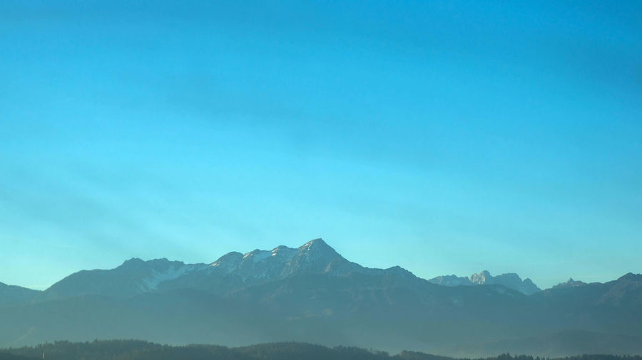 Alps Panorama Mountain Sky Scenics - Nature Mountain Range Beauty In Nature Tranquil Scene Tranquility Clear Sky Copy Space Nature No People Day Non-urban Scene Idyllic Blue Physical Geography Outdoors Remote Landscape Mountain Peak Alps Panorama