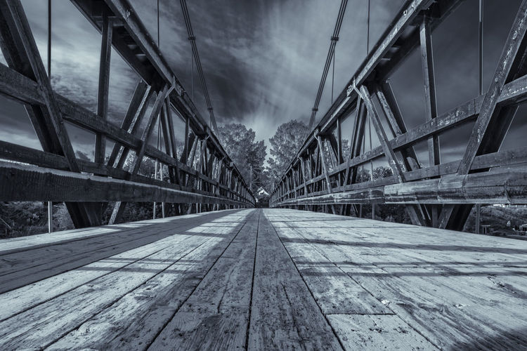 Bridge over river in sweden. Black And White Bridge River Sweden Walking Bridge