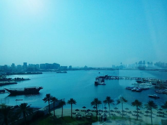 Took by me today from a hotel sea view Clear Sky Water Boat Sea Calm Blue Day Nature High Angle View City Life