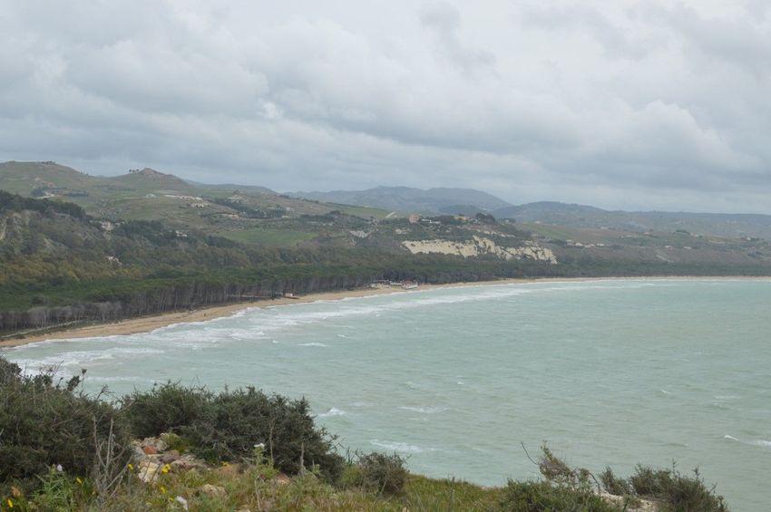 Veduta dal Teatro Greco Eraclea Minoa Fiume Platani Mare Mediterraneo Ribera Sicilia
