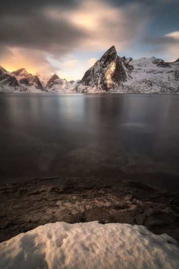not distort Sunset Mountain Lake Reflection Cloud - Sky Sky Landscape Snow Water Outdoors Cold Temperature Scenics Nature Beauty In Nature No People Day Pixelated Galaxy