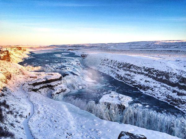 Gullfoss Iceland Frozen Waterfall Nature Winter Snow Traveling Winterwonderland Nature_collection Goldencircle