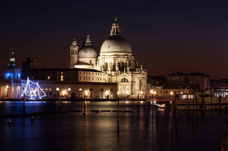 Grand Canal Against Santa Maria Della Salute During Night