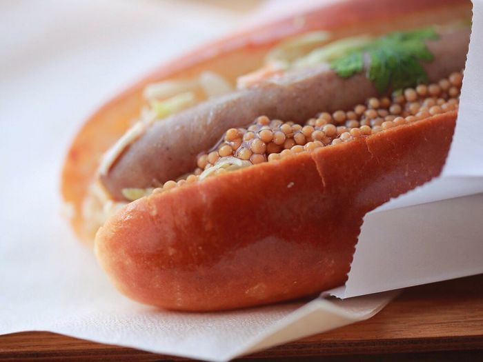 Close-up of fresh hot dog
