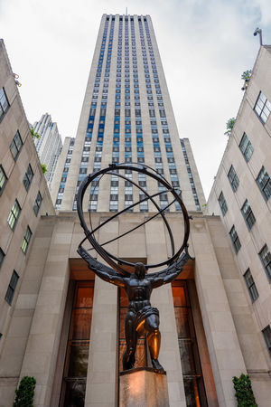 Atlas Manhattan New York Rockfeller Center Statue USA Architecture Building Exterior Built Structure City Close-up Day Low Angle View No People Outdoors Sky Titan