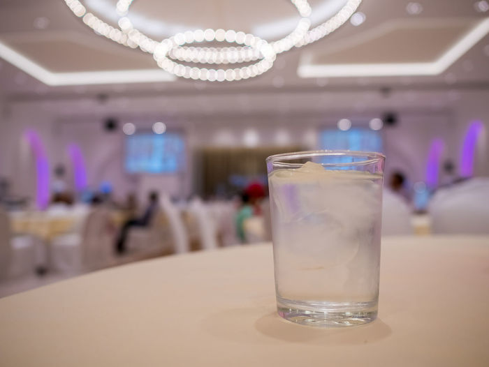 Business Ceiling Close-up Drink Drinking Glass Empty Focus On Foreground Food Food And Drink Freshness Glass Household Equipment Indoors  Luxury No People Refreshment Restaurant Setting Still Life Table Wealth
