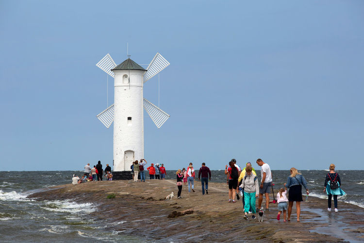 Baltic Baltic Sea Stawa Młyny Architecture Beach Built Structure Clear Sky Crowd Group Of People Holiday Horizon Over Water Land Large Group Of People Leisure Activity Lifestyles Men Nature Outdoors Real People Sea Sky Tower Water Women