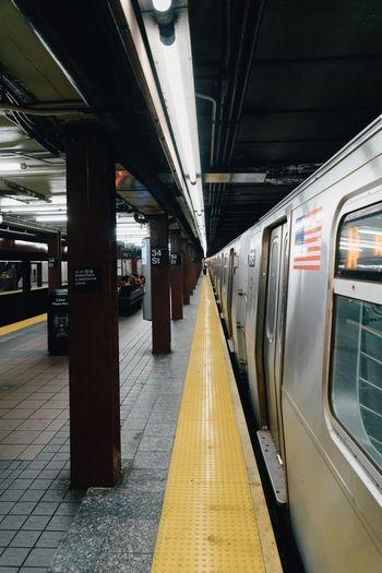 Train at railroad station platform