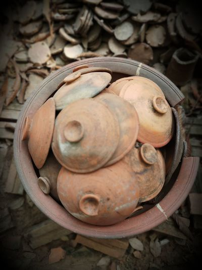 Abandoned Art And Craft Close-up Craft Day Focus On Foreground High Angle View No People Old Pottery Rusty Shape Still Life