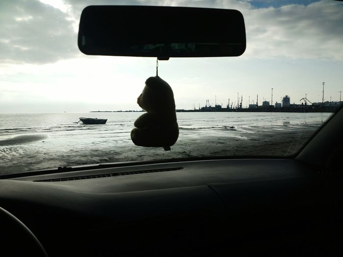 B&w Street Photography Seashore Car Driving Teddybear Insidecarshot View Sea Port Sunset Nature Let's Go. Together.