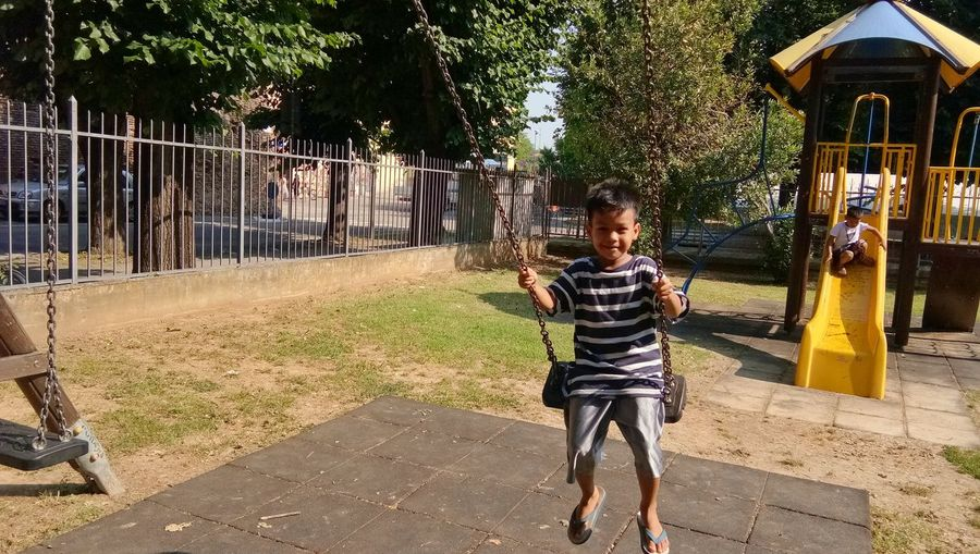 Tree Childhood Full Length Boys Girls Outdoor Play Equipment Shadow Fun Playing Child