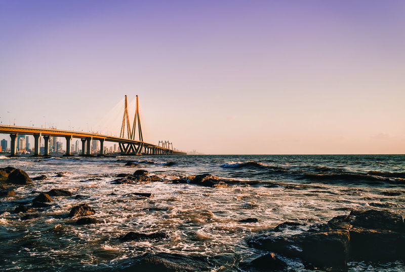 Bandra Worli Sea link as viewed from Bandstand EyeEm Best Edits Eyeemphotography EyeEm Best Shots Bandra Maharashtra Architecture Attraction Band Stand Bandra Worli Sea Link Bridge - Man Made Structure Built Structure City Cityscape Connection Horizon Over Water Landmark Mumbai Bridge Mumbai Sealink Mumbai Skyline Sea Sea Link Seascape Sunset Transportation Travel Destinations Urban Skyline Water Worli