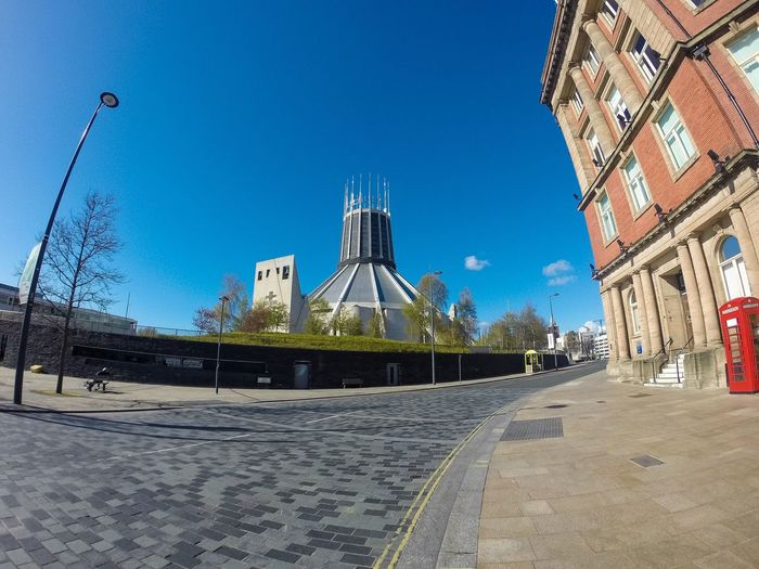 """""""Paddy's Wigwam"""" Roman Catholic Metropolitan Cathedral In Liverpool...x Liverpool Cathedral Catholic Catholic Church Church Metropolitan Road Street Streetphotography Phonebooth Phonebox First Eyeem Photo Blue Sky Itsliverpool Visitliverpool Christ The King Liverpool Cathedral Merseyside Architecture Religion Religious  Religious Architecture"""