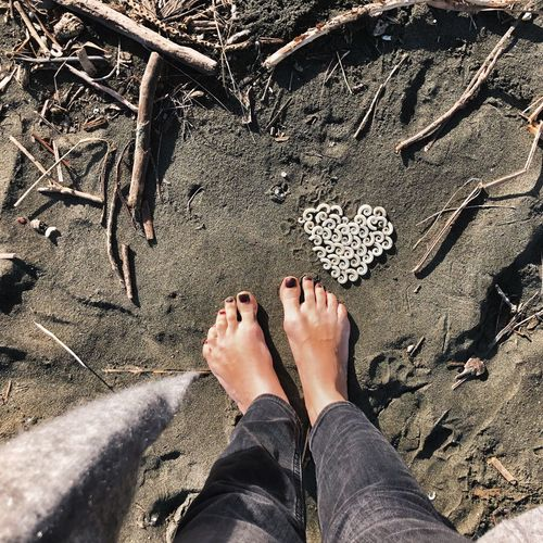 Earth Day Love Nature Heart In Nature Heart In Sand From Where I Stand Black Beach Low Section Human Leg Human Body Part Body Part Personal Perspective Real People barefoot