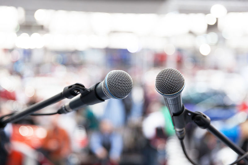 Close-up of microphones during event