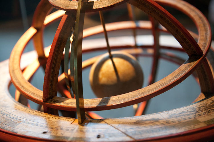 Close-up of wooden globe in museum