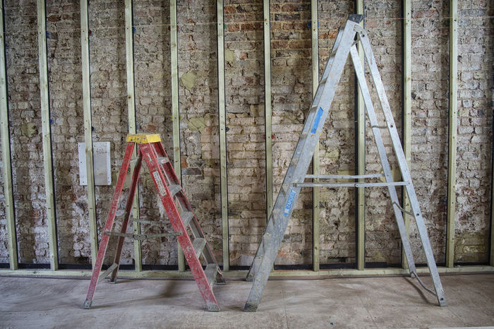 Close-up Construction Site Day DIY Home Improvement Indoors  Ladder No People Paint Roller Step Ladder Wood - Material Work Tool