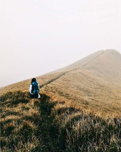 Woman walking on track on mountain