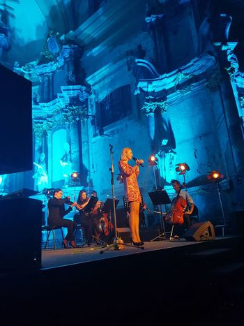 Monika Linkytė Blue Group Of People Person Singer  Concert In SV Kotrynos Baznycia Color Colorful Beautiful Podangum