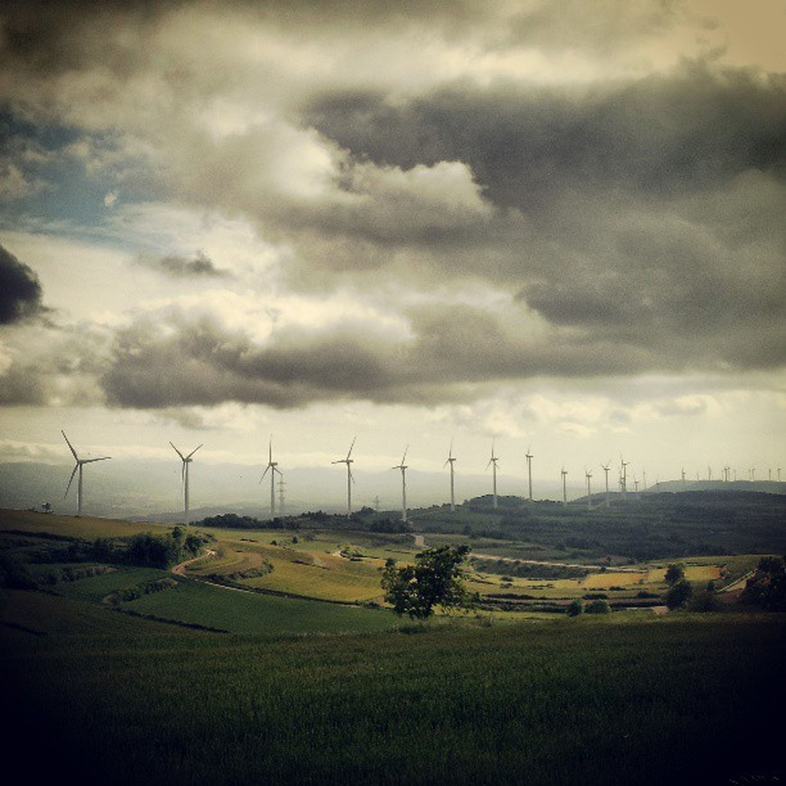 wind turbine, wind power, field, alternative energy, landscape, windmill, fuel and power generation, rural scene, environmental conservation, renewable energy, sky, agriculture, cloud - sky, farm, grass, cloudy, tranquil scene, nature, tranquility, technology