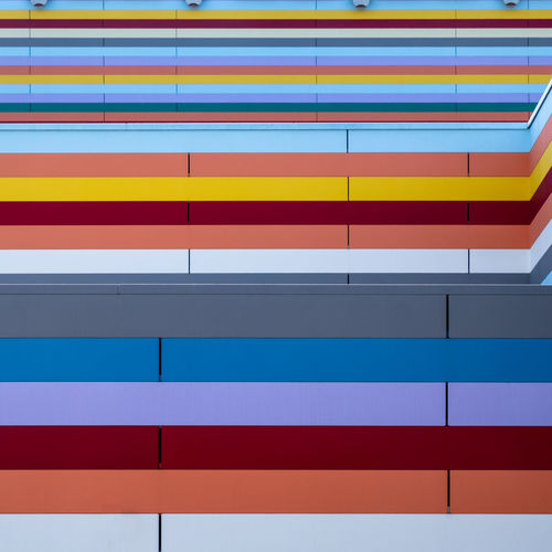 Colorfacade Multi Colored Built Structure Architecture Pattern No People Day Fujix_berlin Ralfpollack_fotografie Minimalism Minimalist Photography  Full Frame Striped Backgrounds Wall - Building Feature Blue Repetition Orange Color Design Yellow