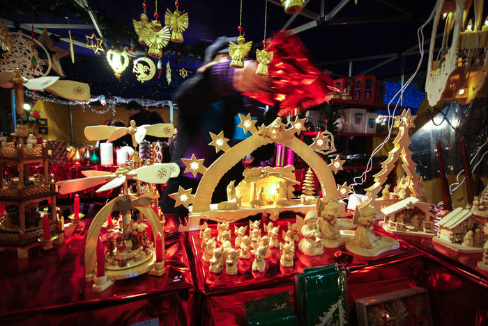 Merry Christmas from Milan, Italy Angels Celebration Christmas Colours EyeEm Gallery Holidays Illuminated Lighting Equipment Market Market Stall Night No People Selling Selling On The Street Statuette Statuettes