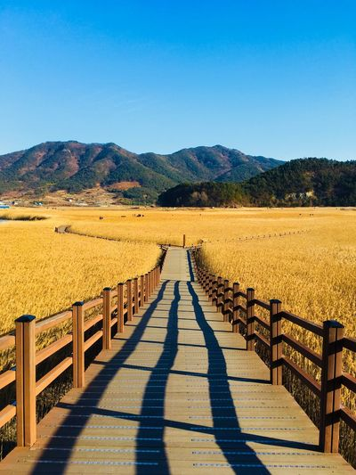 Walkway leading towards mountains against clear blue sky
