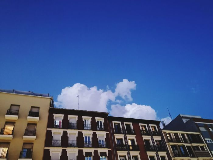 Clouds Eyemphotography EyeEm Gallery City Street Colors Blue Cloud - Sky Cloud Clouds And Sky Madrid Ciudad Minimalism Minimalist Architecture Streetphotography Balcony SPAIN City Apartment Residential Building House Sky Architecture Building Exterior Built Structure