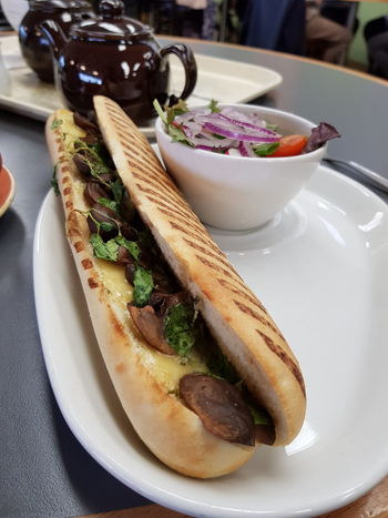Food Food And Drink Indoors  No People Freshness Seafood Plate Healthy Eating Herb Ready-to-eat Close-up Day Panini Panino Paninis 🍔 Panini Time Baguette Mushrooms Sandwich Mushroom Sandwhich Cheese Melted Cheese Tea Tea Pot