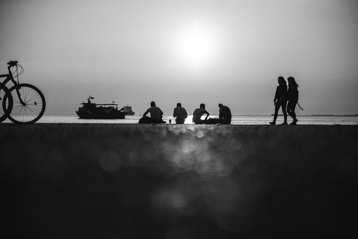 Group of people Thessaloniki Black Blackandwhite Greece Group Group Of People Seafront Seafront Silhouette Seafront Views Sunsset
