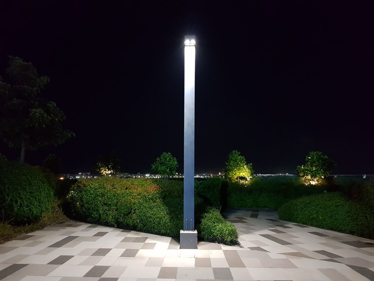 night, plant, illuminated, no people, nature, tree, sky, lighting equipment, the way forward, architecture, outdoors, street, street light, footpath, direction, clear sky, growth, park - man made space, travel destinations, copy space, architectural column, hedge