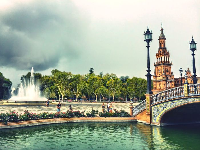 Water Building Exterior Architecture Outdoors Travel Destinations Fountain Cloud - Sky Tourism History Architecture Traveling Home For The Holidays Vacations Sevilla Spain