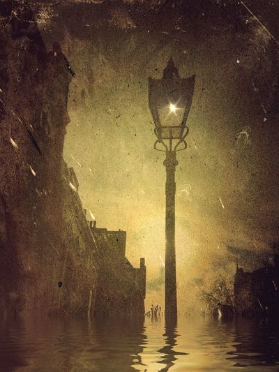 Victorian street lamp in Hampstead on Devonshire Hill with damaged and flood effect No People Outdoors Night City Water Sky Flood Water Mextures App Distressed Effect Victorian Lighting