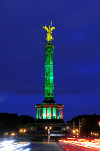 The Siegessäule in Berlin, Germany, at night Berlin Berlin Mitte Deutschland Siegessäule  Siegessäule Berlin Architecture City Germany Illuminated Long Exposure Monument Night Sculpture Statue Tourism Travel Travel Destinations Victory Column
