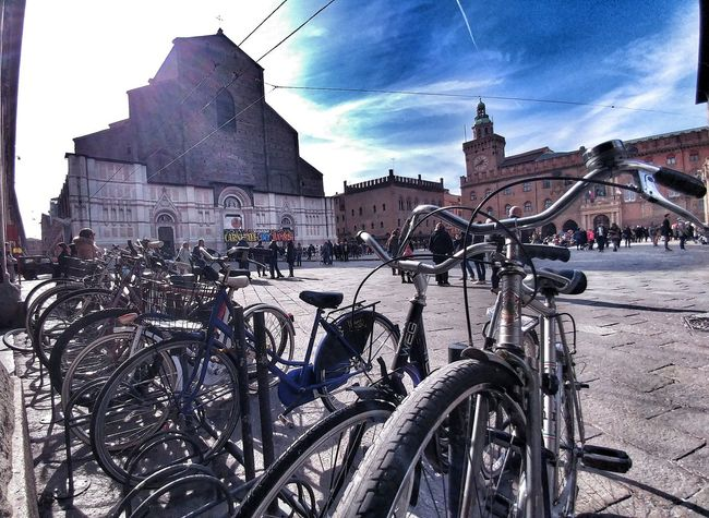 Bicycle City Building Exterior Sky Built Structure Outdoors Architecture No People Day Happy Cool Italia Satisfaction Great Wonderful Freshness Minimalist Architecture Architecture EyeEmNewHere Design Darkness And Light The City Light Cool_capture_ Emilia Romagna City