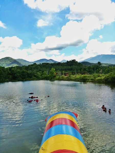 Water blob 💦🏃 Mountain Water Reflection Lake Day Outdoors Mountain Range Leisure Activity Multi Colored Sky People Nature Ulu Slim Perak Darul Ridzuan, Malaysia