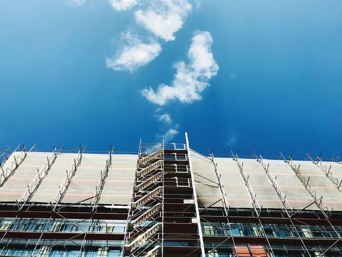 Berlin Looking Up Architecture Blue Sky Sky Cloud - Sky Low Angle View Built Structure Architecture Nature Building Exterior Industry Building City Sunlight Blue Day Visual Creativity #FREIHEITBERLIN