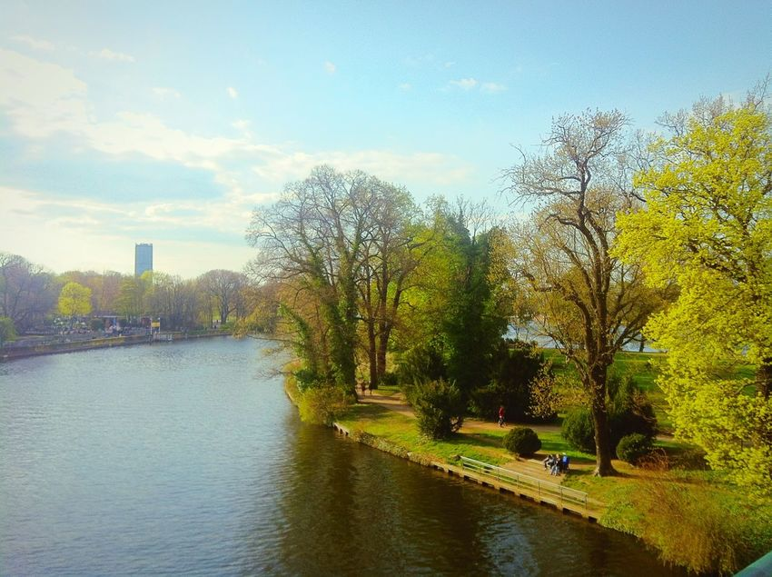 Soaking Up The Sun Walking Around Escaping Berlin Park People Watching Sunny Day Frühling Springtime River View
