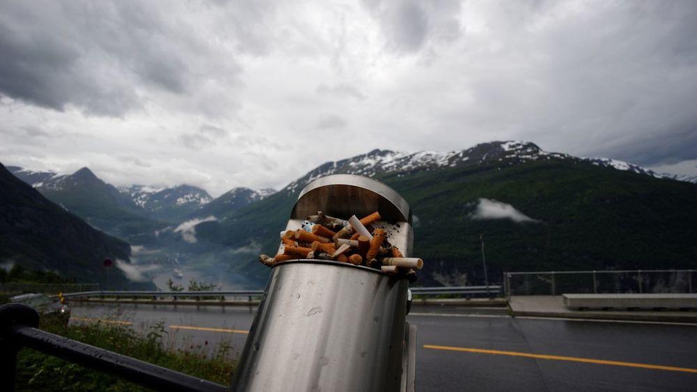 Geiranger Norway nature cigarettes smoke irony joke Ironic Name Environmental Pollution silly health stupid mankind