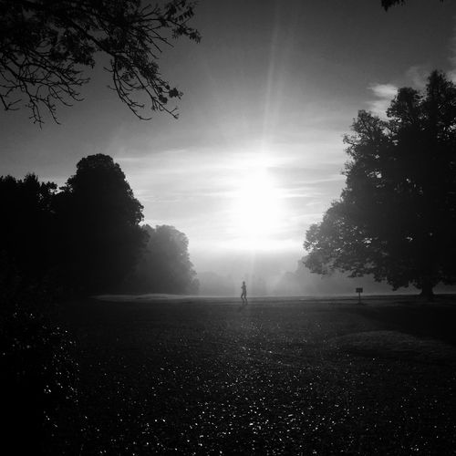 Foggy Fog Jogging Capture The Moment Black And White Bw_collection Eye4photography  Monochrome Sunset Silhouettes